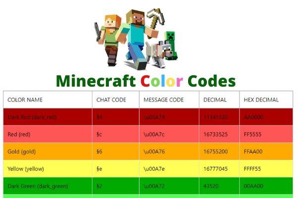 color codes minecraft